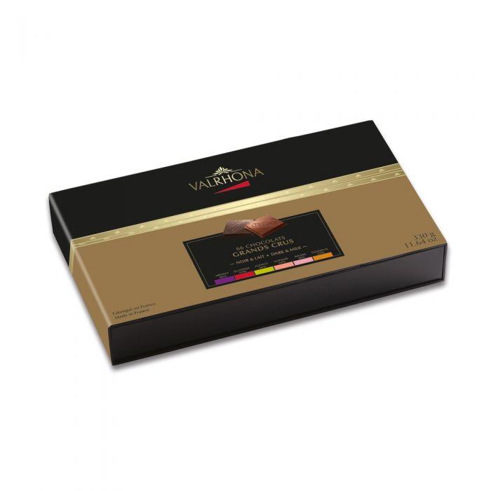 carrés de chocolate negro y con leche - 330g por valrhona