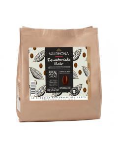 habas de chocolate negro equatoriale 55% por valrhona
