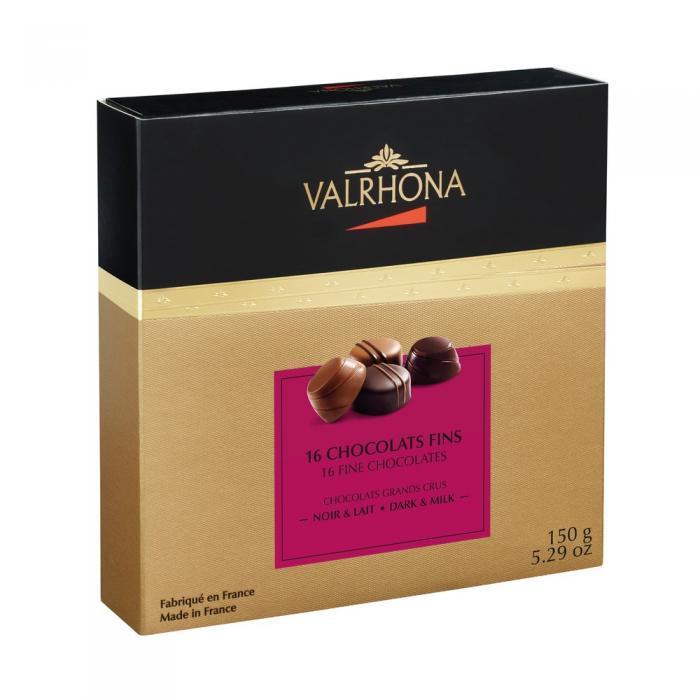 bombones de chocolate negro y con leche - 150g por valrhona