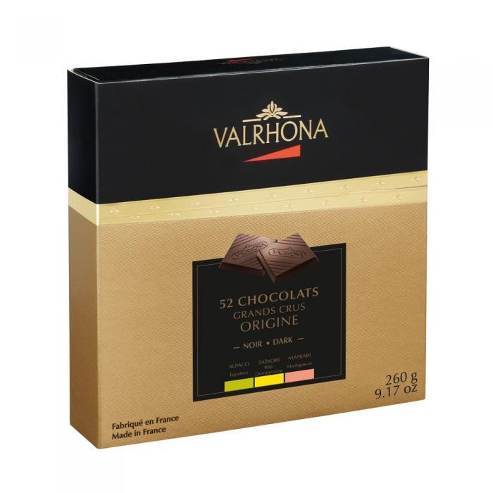 carrés de chocolate negro de origen por valrhona