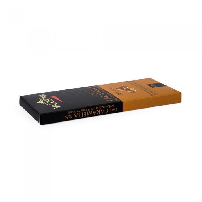 tableta caramelia 36% perlas crujientes por valrhona